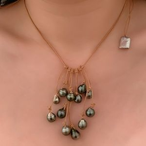 New auth real natural Tahitian pearl necklace